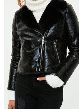 black-cracked-metallic-biker-jacket by missguided