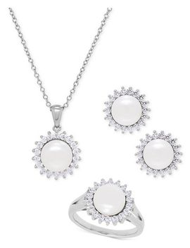 cultured-freshwater-pearl-(8mm)-and-swarovski-cubic-zirconia-jewelry-set-in-sterling-silver by general