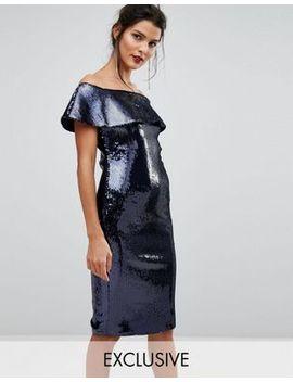 tfnc-off-shoulder-allover-sequin-bandeau-midi-dress by tfnc