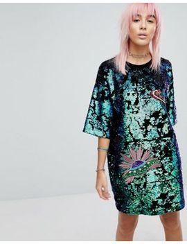 ragyard-t-shirt-dress-in-sequin by ragyard