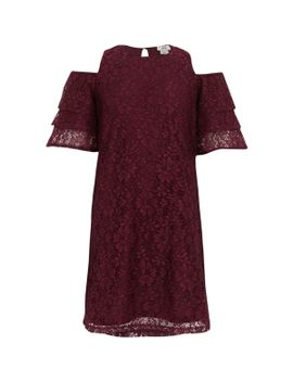 girls-red-lace-cold-shoulder-frill-dress by river-island