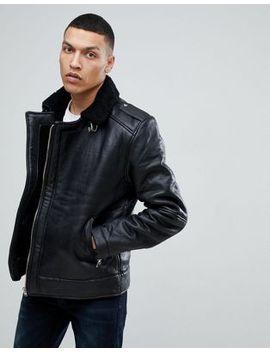 bellfield-leather-aviator-jacket-with-fleece-lining by bellfield