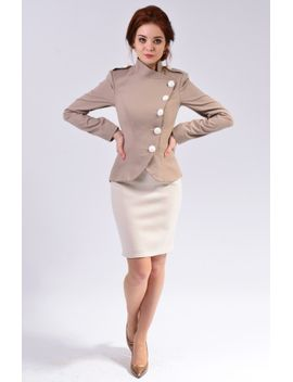 office-women-suit-with-short-straight-skirt,-wrap-blazer-jacket-|-dina by etsy
