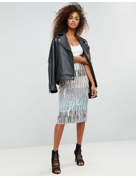 asos-pencil-skirt-with-fringe-embellishment by asos-collection