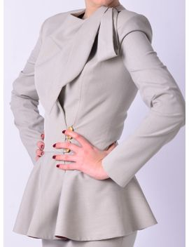 suit-with-straight-skirt,-bow-scarf-blazer,-wrap-jacket,--office-wear-for-women-|-brenda by etsy