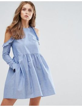 nobodys-child-cold-shoulder-smock-dress-with-ruffle-trim-in-chambray by nobodys-child