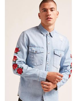floral-embroidered-denim-shirt by forever-21