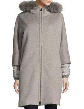 fox-fur-trimmed-mixed-media-coat by cinzia-rocca