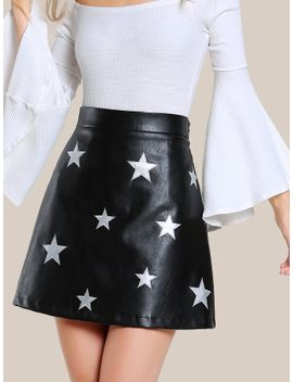 star-patch-faux-leather-skirt by sheinside