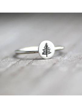 evergreen-tree-ring,-northwoods-pine-tree-ring,-pine-tree-ring,-tree-stack-ring,-sterling-tree-ring,-silver-stack-ring,-womens-stack-ring by etsy