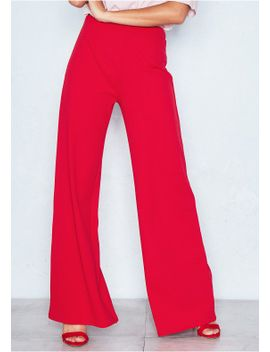 kelsey-red-high-waist-wide-leg-trousers by missy-empire