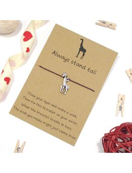 giraffe-wish-bracelet,-friendship-bracelet,-charm-bracelet,-cord-bracelet,-giraffe-jewellery,-string-bracelet,-friend-gift,-animal-bracelet by etsy