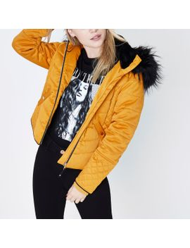 petite-mustard-yellow-padded-faux-fur-coat by river-island