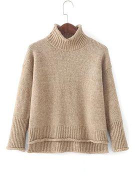 dip-hem-rib-trim-sweater by sheinside