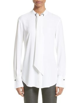 crepe-tie-neck-blouse by st-john-collection