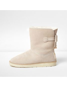 beige-bow-back-faux-fur-lined-ankle-boots -------------- ------------------beige-bow-back-faux-fur-lined-ankle-boots by river-island
