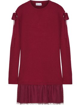 ribbed-wool-and-point-d'esprit-tulle-mini-dress by redvalentino