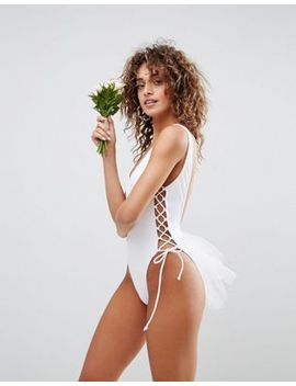asos-bridal-lace-up-side-tulle-swimsuit by asos-collection