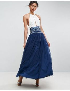 asos-maxi-tulle-skirt-with-crossover-embellished-waistband by asos-collection