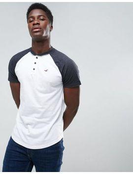 hollister-henley-t-shirt-slim-fit-baseball-raglan-in-white-blocking by hollister
