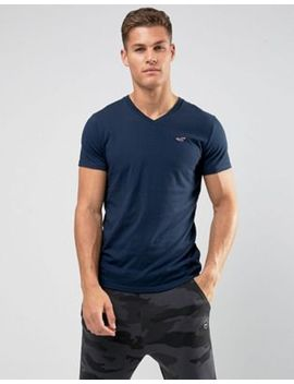 hollister-v-neck-t-shirt-slim-fit-icon-logo-in-navy by hollister