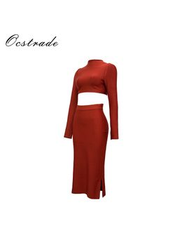 ocstrade-rayon-2-piece-bandage-dress-2017-new-fashion-women-brown-long-sleeve-two-piece-dress-wholesale-hl by ocstrade