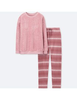 women-long-sleeve-fair-isle-fleece-set by uniqlo