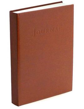 "british-tan-italian-leather-hardbound-journal-(9""x7"") by barnes-&-noble"