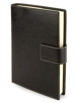 """black-bonded-italian-leather-tab-snap-lined-journal-(89""""-x-62"""") by fiorentina"""
