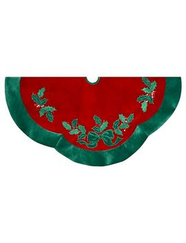 "48""-velvet-red-with-green-leaves-applique-decorative-tree-skirt by kurt-s-adler"