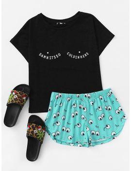 tee-and-allover-cartoon-eyes-print-shorts-pajama-set by shein