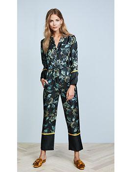 lyle-print-silk-pajama-jumpsuit by whistles