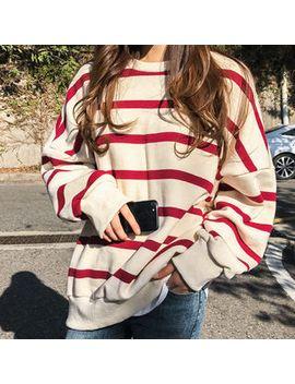 naning9---stripe-oversized-brushed-fleece-lined-sweatshirt by naning9