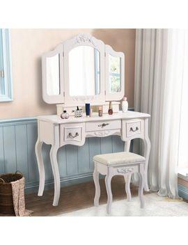costway-tri-folding-vintage-white-vanity-makeup-dressing-table-set-bathroom-5-drawers-&stool by costway
