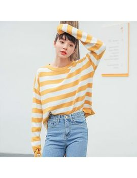 long-sleeve-striped-knit-top by yesstyle