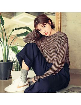 round-neck-striped-top by yesstyle