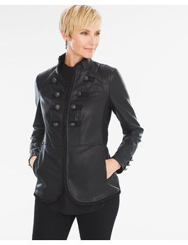 faux-leather-military-jacket by chicos