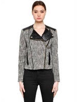 boucle-biker-jacket-w_-faux-leather by karl-lagerfeld