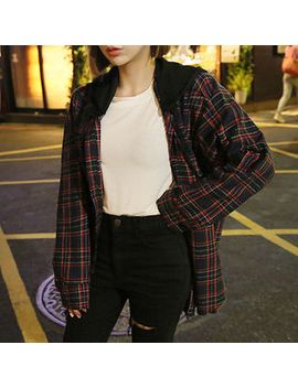 detachable-hood-lettering-plaid-shirt by yesstyle