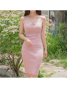 sleeveless-lace-up-rib-knit-bodycon-dress by yesstyle