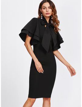 bow-tie-neck-layered-bell-sleeve-dress by shein