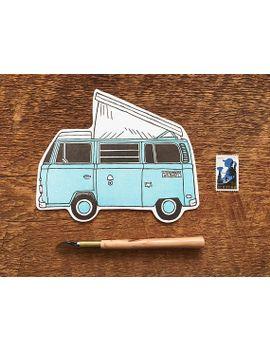 camper-van-postcard,-blue-volkswagen-bus-postcard,-die-cut-letterpress-postcard by etsy