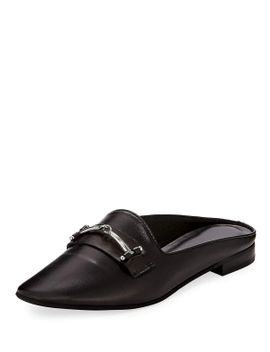 melody-leather-flat-loafer-mule-w_-bit-detail,-black by charles-david