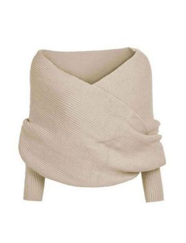 womens-off-the-shoulder-cross-wrap-sweater-ultra-short-blouse-tops-scarf-s-xl by ebay-seller