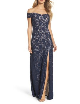 off-the-shoulder-glitter-lace-gown by sequin-hearts