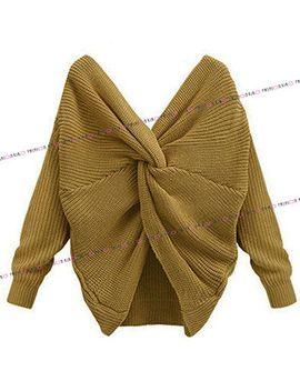 womens-ladies-knitted-cross-wrap-over-multiway-sweatshirt-twist-jumper-top-shirt by unbranded