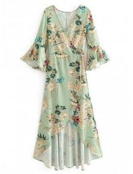 floral-flouncy-sleeve-wrap-maxi-dress---light-green-l by zaful