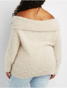 plus-size-feather-knit-off-the-shoulder-sweater by charlotte-russe