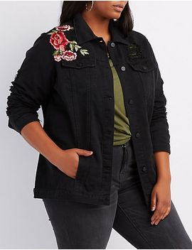 plus-size-embroidered-destroyed-denim-jacket by charlotte-russe