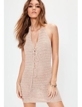 nude-crochet-halterneck-lace-up-mini-knitted-dress by missguided